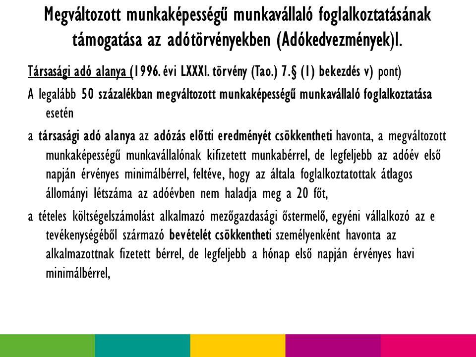Megváltozott munkaképességű munkavállaló foglalkoztatásának támogatása az adótörvényekben (Adókedvezmények)I.