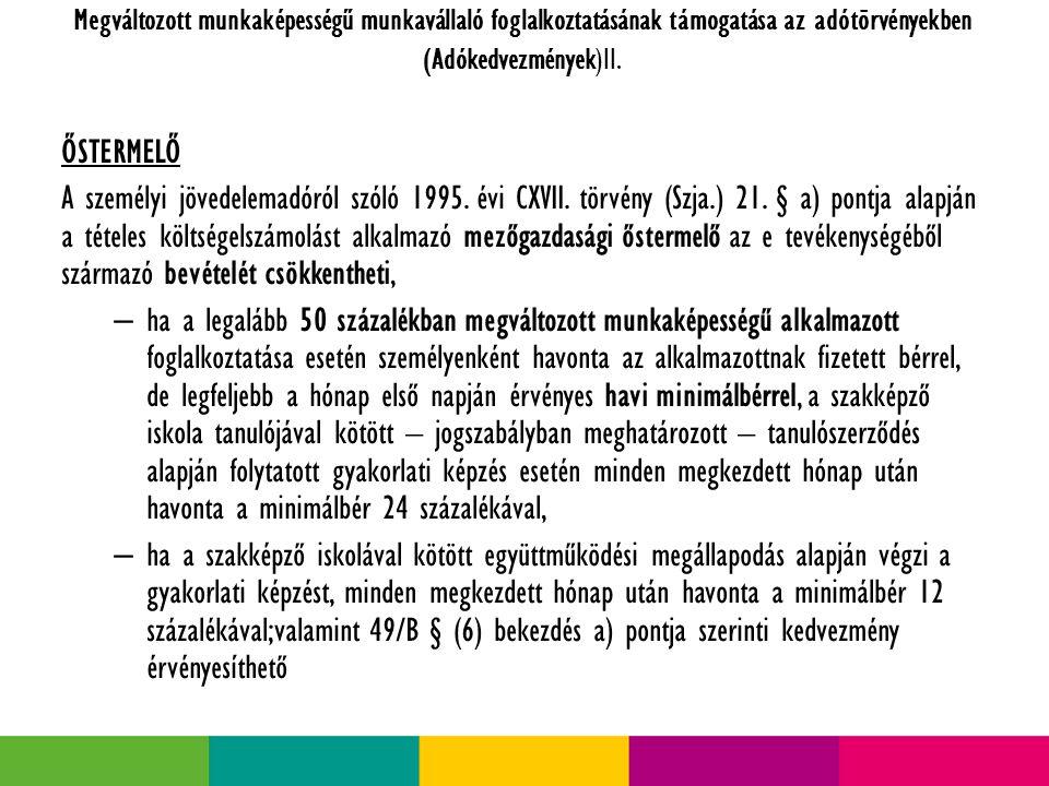 Megváltozott munkaképességű munkavállaló foglalkoztatásának támogatása az adótörvényekben (Adókedvezmények)II.