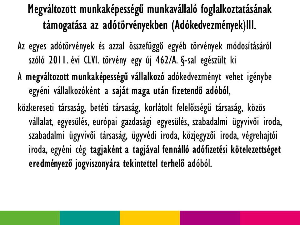 Megváltozott munkaképességű munkavállaló foglalkoztatásának támogatása az adótörvényekben (Adókedvezmények)IV.