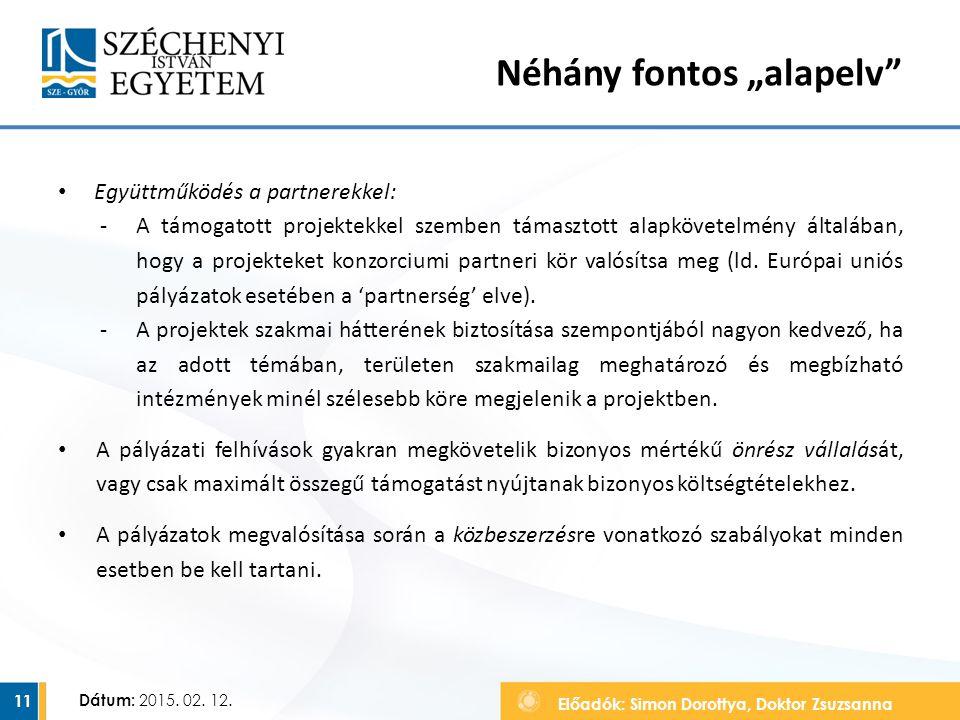 """Előadók: Simon Dorottya, Doktor Zsuzsanna Dátum: 2015. 02. 12. Néhány fontos """"alapelv"""" Együttműködés a partnerekkel: ‐A támogatott projektekkel szembe"""