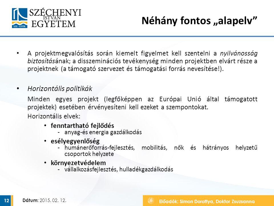 Előadók: Simon Dorottya, Doktor Zsuzsanna Dátum: 2015. 02. 12. A projektmegvalósítás során kiemelt figyelmet kell szentelni a nyilvánosság biztosításá