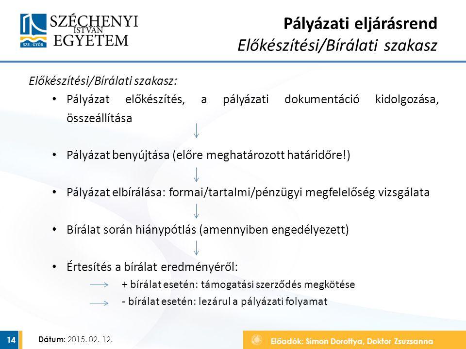 Előadók: Simon Dorottya, Doktor Zsuzsanna Dátum: 2015. 02. 12. Pályázati eljárásrend Előkészítési/Bírálati szakasz Előkészítési/Bírálati szakasz: Pály
