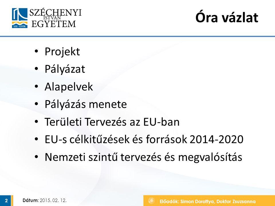 Előadók: Simon Dorottya, Doktor Zsuzsanna Dátum: 2015. 02. 12. Óra vázlat Projekt Pályázat Alapelvek Pályázás menete Területi Tervezés az EU-ban EU-s