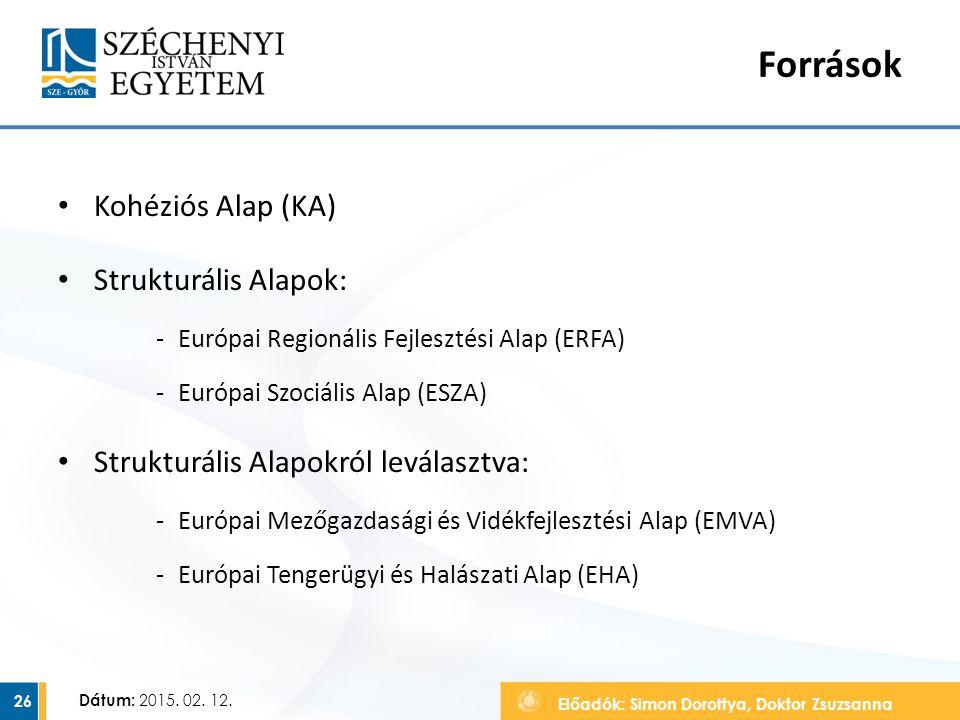 Előadók: Simon Dorottya, Doktor Zsuzsanna Dátum: 2015. 02. 12. Források Kohéziós Alap (KA) Strukturális Alapok: ‐Európai Regionális Fejlesztési Alap (