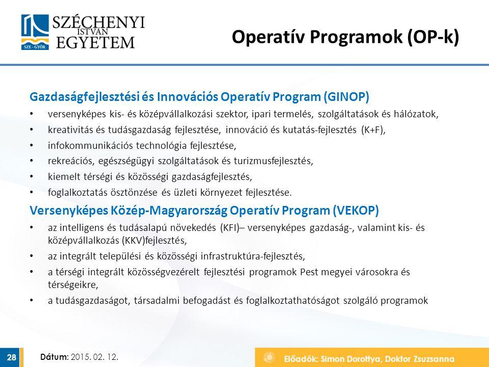 Előadók: Simon Dorottya, Doktor Zsuzsanna Dátum: 2015. 02. 12. Operatív Programok (OP-k) Gazdaságfejlesztési és Innovációs Operatív Program (GINOP) ve