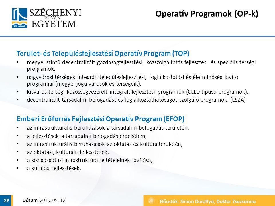 Előadók: Simon Dorottya, Doktor Zsuzsanna Dátum: 2015. 02. 12. Operatív Programok (OP-k) Terület- és Településfejlesztési Operatív Program (TOP) megye