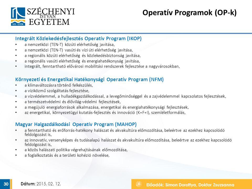 Előadók: Simon Dorottya, Doktor Zsuzsanna Dátum: 2015. 02. 12. Operatív Programok (OP-k) Integrált Közlekedésfejlesztés Operatív Program (IKOP) a nemz