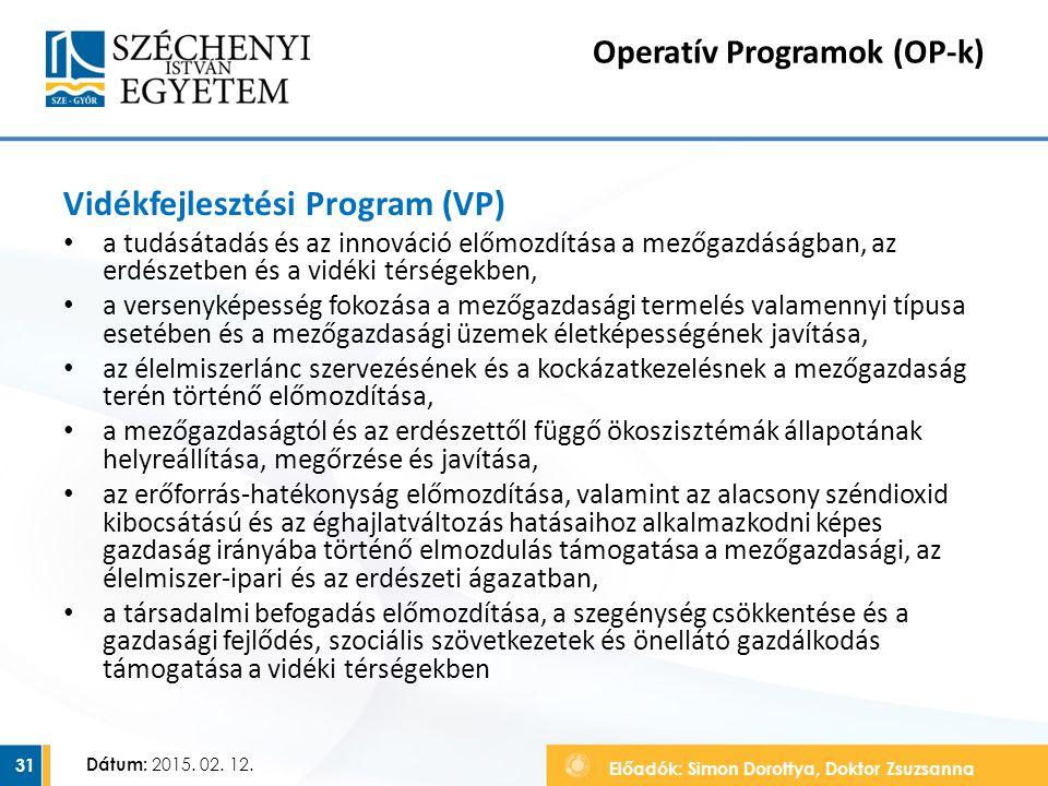 Előadók: Simon Dorottya, Doktor Zsuzsanna Dátum: 2015. 02. 12. Operatív Programok (OP-k) Vidékfejlesztési Program (VP) a tudásátadás és az innováció e