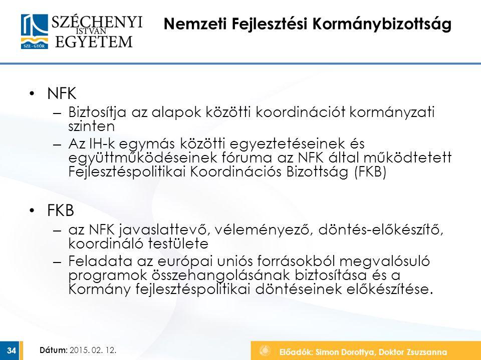 Előadók: Simon Dorottya, Doktor Zsuzsanna Dátum: 2015. 02. 12. Nemzeti Fejlesztési Kormánybizottság NFK – Biztosítja az alapok közötti koordinációt ko