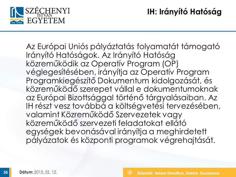 Előadók: Simon Dorottya, Doktor Zsuzsanna Dátum: 2015. 02. 12. IH: Irányító Hatóság Az Európai Uniós pályáztatás folyamatát támogató Irányító Hatóságo