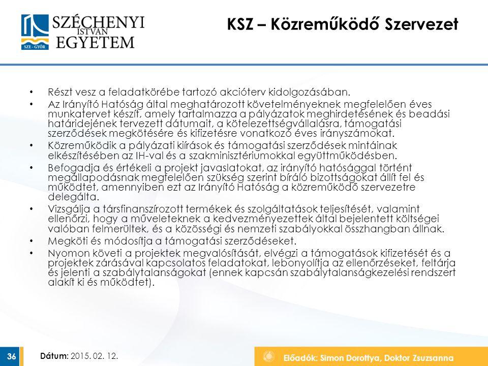 Előadók: Simon Dorottya, Doktor Zsuzsanna Dátum: 2015. 02. 12. KSZ – Közreműködő Szervezet Részt vesz a feladatkörébe tartozó akcióterv kidolgozásában