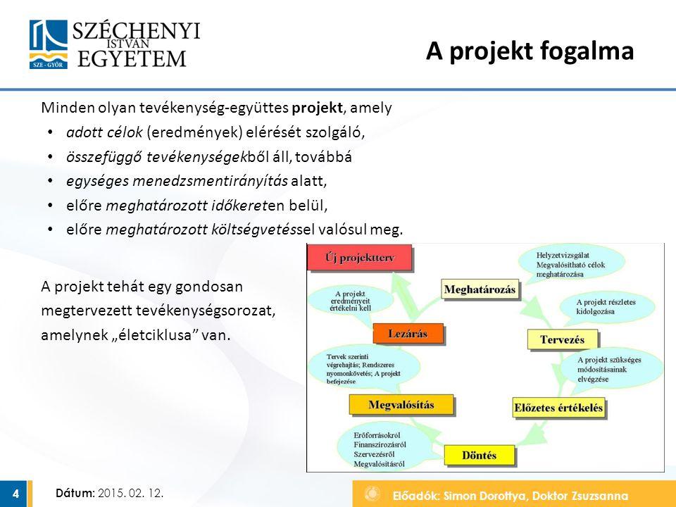 Előadók: Simon Dorottya, Doktor Zsuzsanna Dátum: 2015. 02. 12. A projekt fogalma Minden olyan tevékenység-együttes projekt, amely adott célok (eredmén