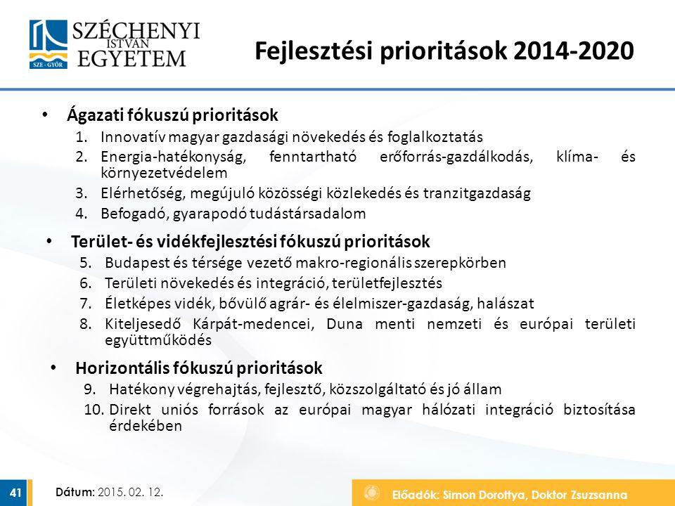 Előadók: Simon Dorottya, Doktor Zsuzsanna Dátum: 2015. 02. 12. Fejlesztési prioritások 2014-2020 Ágazati fókuszú prioritások 1.Innovatív magyar gazdas