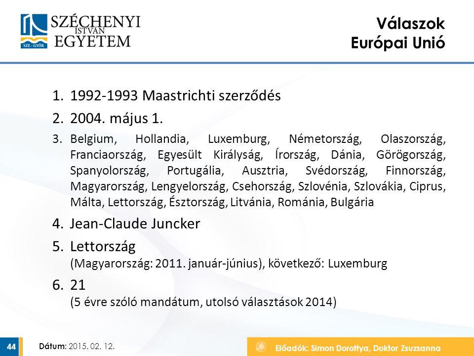 Előadók: Simon Dorottya, Doktor Zsuzsanna Dátum: 2015. 02. 12. Válaszok Európai Unió 1.1992-1993 Maastrichti szerződés 2.2004. május 1. 3.Belgium, Hol