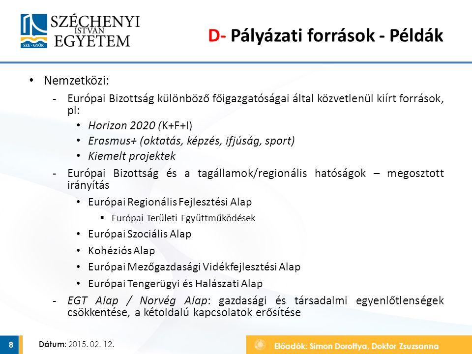 Előadók: Simon Dorottya, Doktor Zsuzsanna Dátum: 2015. 02. 12. D- Pályázati források - Példák Nemzetközi: ‐Európai Bizottság különböző főigazgatóságai