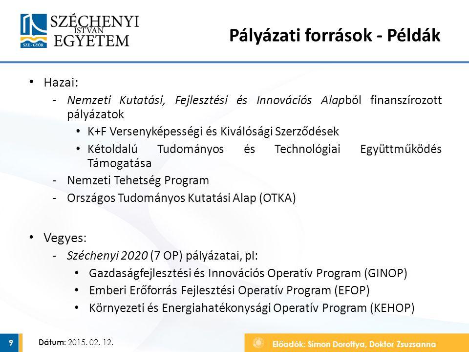 Előadók: Simon Dorottya, Doktor Zsuzsanna Dátum: 2015. 02. 12. Pályázati források - Példák Hazai: ‐Nemzeti Kutatási, Fejlesztési és Innovációs Alapból