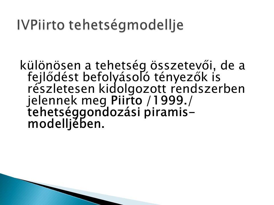különösen a tehetség összetevői, de a fejlődést befolyásoló tényezők is részletesen kidolgozott rendszerben jelennek meg Piirto /1999./ tehetséggondoz