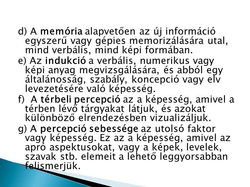 d) A memória alapvetően az új információ egyszerű vagy gépies memorizálására utal, mind verbális, mind képi formában. e) Az indukció a verbális, numer
