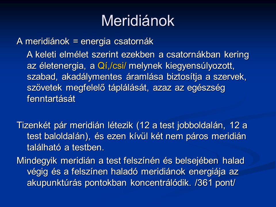 Meridiánok A meridiánok = energia csatornák A keleti elmélet szerint ezekben a csatornákban kering az életenergia, a Qí,/csi/ melynek kiegyensúlyozott
