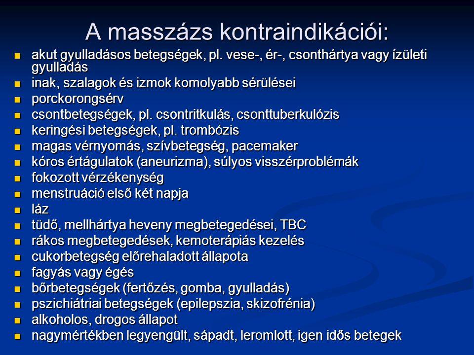 A masszázs kontraindikációi: akut gyulladásos betegségek, pl. vese-, ér-, csonthártya vagy ízületi gyulladás akut gyulladásos betegségek, pl. vese-, é