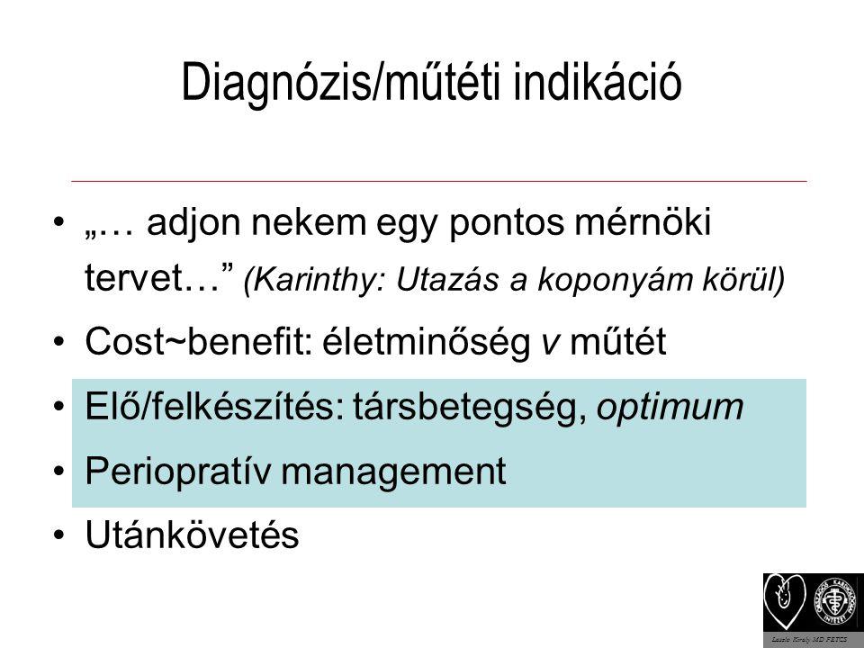 """Diagnózis/műtéti indikáció """"… adjon nekem egy pontos mérnöki tervet… (Karinthy: Utazás a koponyám körül) Cost~benefit: életminőség v műtét Elő/felkészítés: társbetegség, optimum Periopratív management Utánkövetés Laszlo Kiraly MD FETCS"""