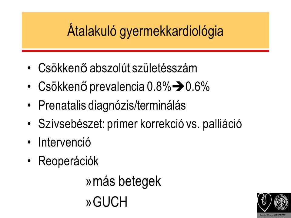Átalakuló gyermekkardiológia Csökken ő abszolút születésszám Csökken ő prevalencia 0.8%  0.6% Prenatalis diagnózis/terminálás Szívsebészet: primer korrekció vs.