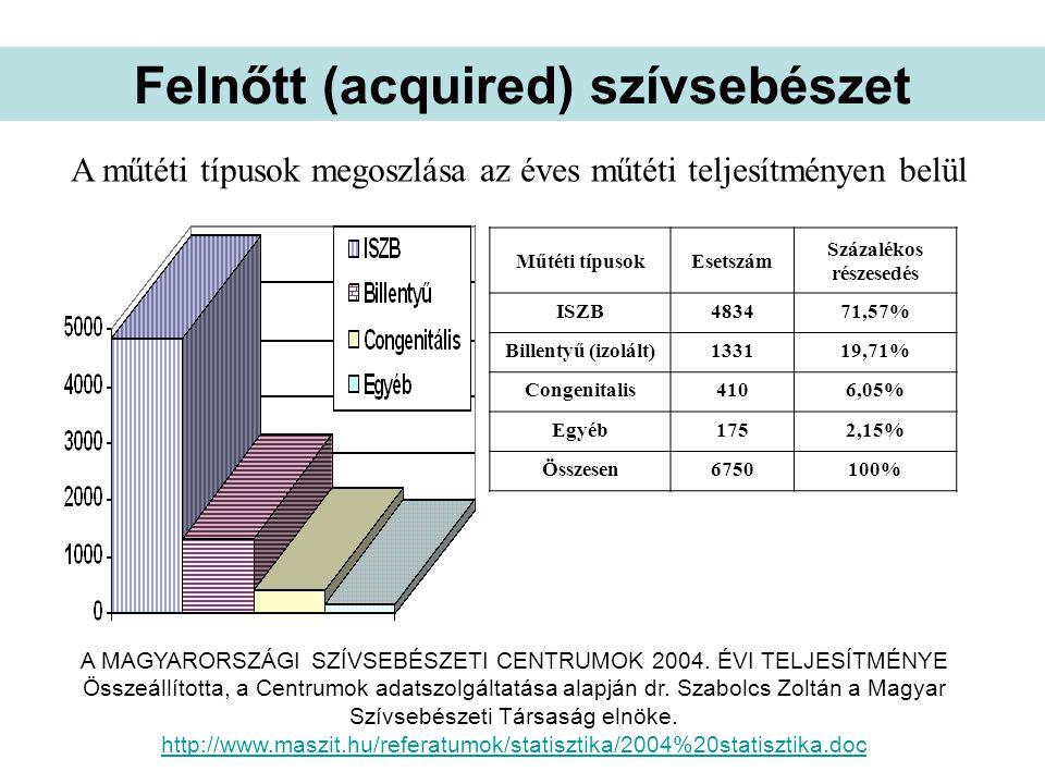 Műtéti típusokEsetszám Százalékos részesedés ISZB483471,57% Billentyű (izolált)133119,71% Congenitalis4106,05% Egyéb1752,15% Összesen6750100% A műtéti típusok megoszlása az éves műtéti teljesítményen belül A MAGYARORSZÁGI SZÍVSEBÉSZETI CENTRUMOK 2004.