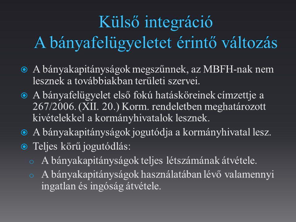  A bányakapitányságok megszűnnek, az MBFH-nak nem lesznek a továbbiakban területi szervei.
