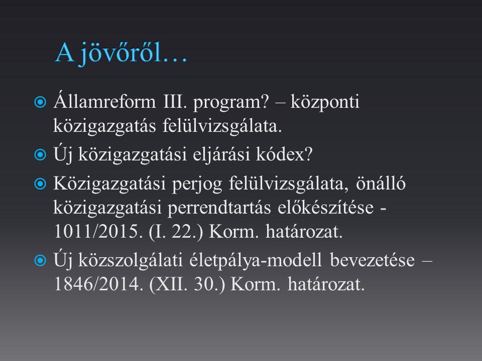  Államreform III.program. – központi közigazgatás felülvizsgálata.