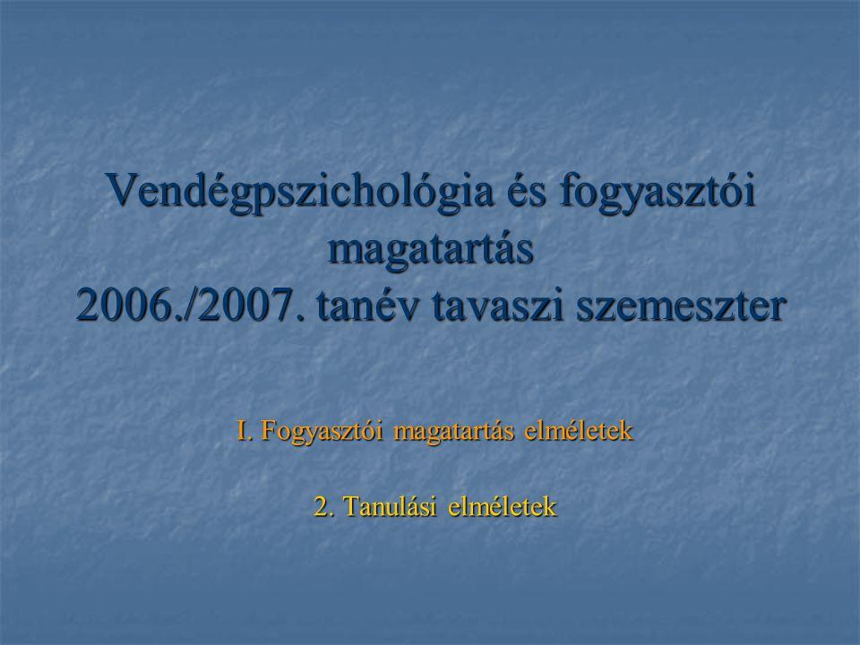 Vendégpszichológia és fogyasztói magatartás 2006./2007. tanév tavaszi szemeszter I. Fogyasztói magatartás elméletek 2. Tanulási elméletek