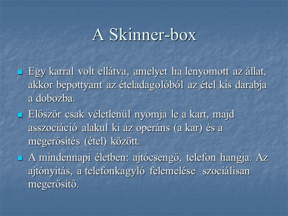 A Skinner-box Egy karral volt ellátva, amelyet ha lenyomott az állat, akkor bepottyant az ételadagolóból az étel kis darabja a dobozba. Egy karral vol