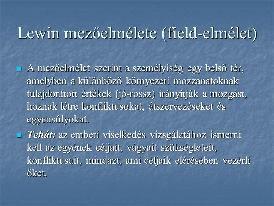 Lewin mezőelmélete (field-elmélet) A mezőelmélet szerint a személyiség egy belső tér, amelyben a különböző környezeti mozzanatoknak tulajdonított érté