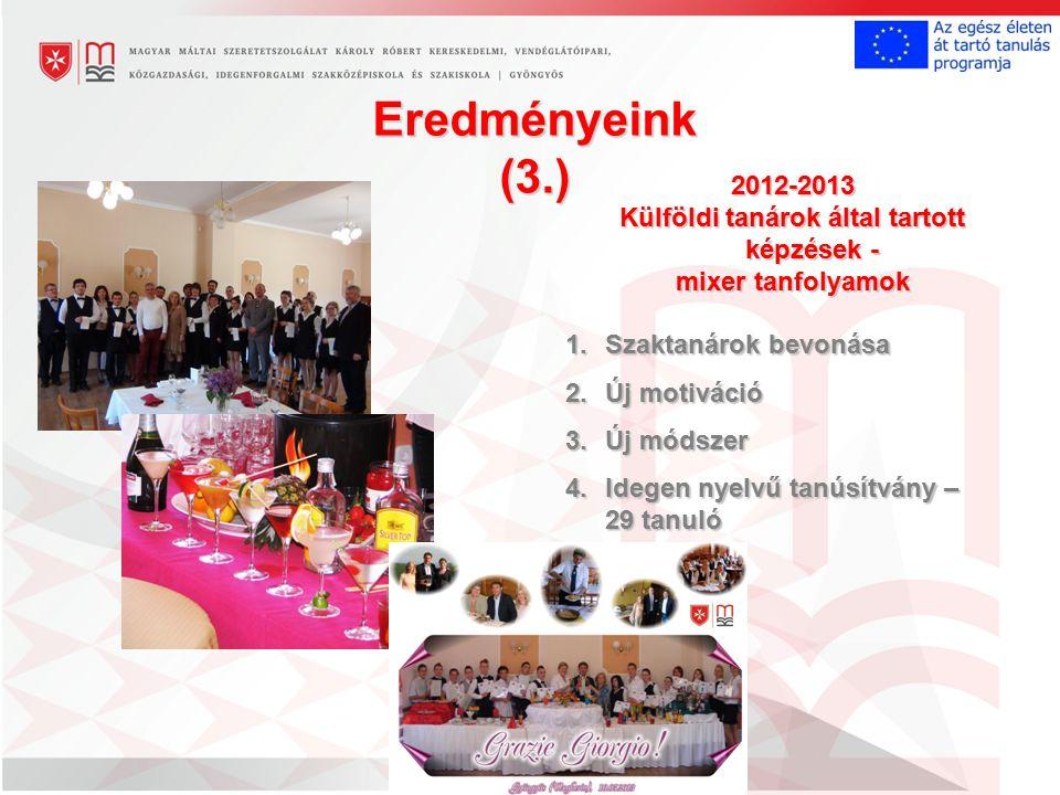 Eredményeink (3.) 2012-2013 Külföldi tanárok által tartott képzések - mixer tanfolyamok 1.Szaktanárok bevonása 2.Új motiváció 3.Új módszer 4.Idegen nyelvű tanúsítvány – 29 tanuló
