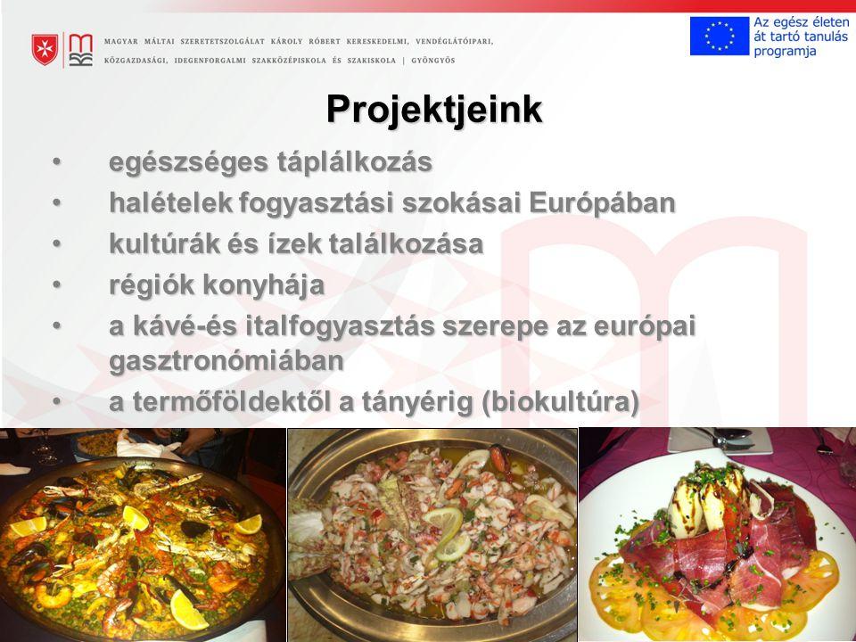 Projektjeink egészséges táplálkozásegészséges táplálkozás halételek fogyasztási szokásai Európábanhalételek fogyasztási szokásai Európában kultúrák és ízek találkozásakultúrák és ízek találkozása régiók konyhájarégiók konyhája a kávé-és italfogyasztás szerepe az európai gasztronómiábana kávé-és italfogyasztás szerepe az európai gasztronómiában a termőföldektől a tányérig (biokultúra)a termőföldektől a tányérig (biokultúra)