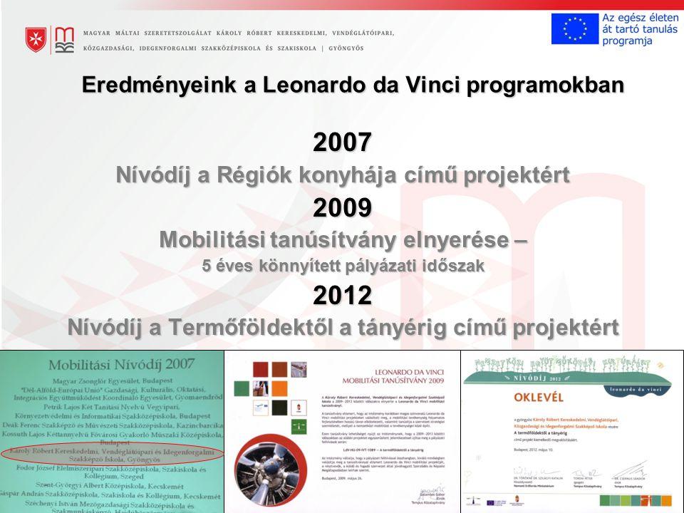 Eredményeink a Leonardo da Vinci programokban 2007 Nívódíj a Régiók konyhája című projektért 2009 Mobilitási tanúsítvány elnyerése – 5 éves könnyített pályázati időszak 2012 Nívódíj a Termőföldektől a tányérig című projektért
