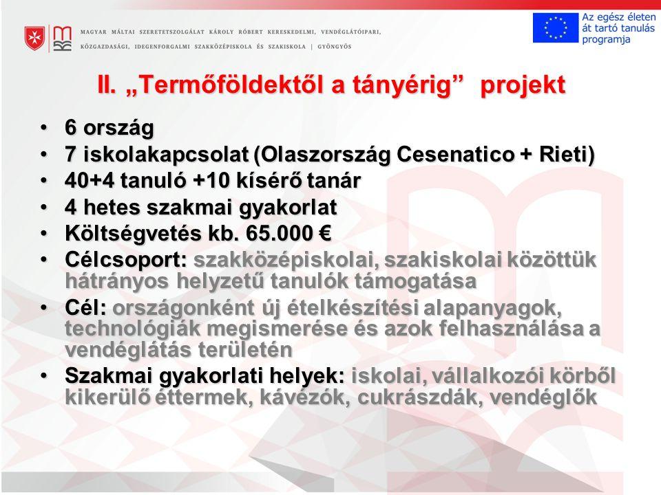 """II. """"Termőföldektől a tányérig"""" projekt 6 ország6 ország 7 iskolakapcsolat (Olaszország Cesenatico + Rieti)7 iskolakapcsolat (Olaszország Cesenatico +"""