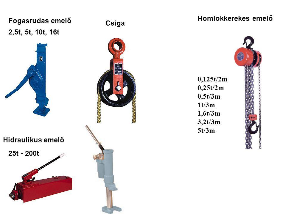 Fogasrudas emelő Homlokkerekes emelő 0,125t/2m 0,25t/2m 0,5t/3m 1t/3m 1,6t/3m 3,2t/3m 5t/3m 2,5t, 5t, 10t, 16t Csiga Hidraulikus emelő 25t - 200t