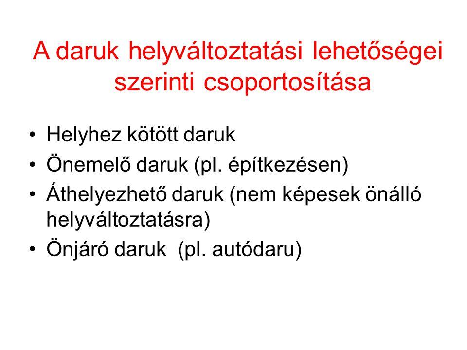 A daruk helyváltoztatási lehetőségei szerinti csoportosítása Helyhez kötött daruk Önemelő daruk (pl. építkezésen) Áthelyezhető daruk (nem képesek önál