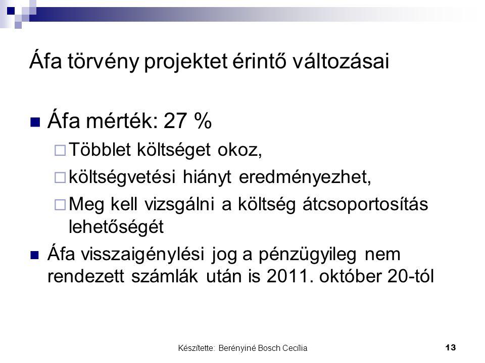 Készítette: Berényiné Bosch Cecília 13 Áfa törvény projektet érintő változásai Áfa mérték: 27 %  Többlet költséget okoz,  költségvetési hiányt eredm