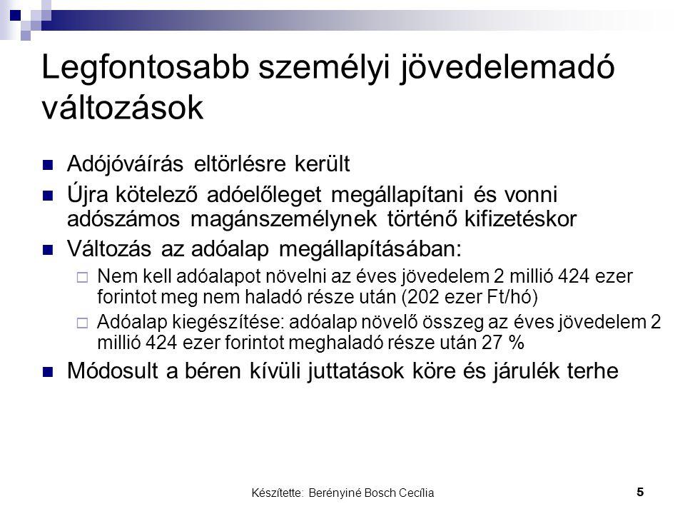 Készítette: Berényiné Bosch Cecília 5 Legfontosabb személyi jövedelemadó változások Adójóváírás eltörlésre került Újra kötelező adóelőleget megállapítani és vonni adószámos magánszemélynek történő kifizetéskor Változás az adóalap megállapításában:  Nem kell adóalapot növelni az éves jövedelem 2 millió 424 ezer forintot meg nem haladó része után (202 ezer Ft/hó)  Adóalap kiegészítése: adóalap növelő összeg az éves jövedelem 2 millió 424 ezer forintot meghaladó része után 27 % Módosult a béren kívüli juttatások köre és járulék terhe