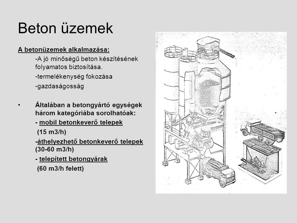 Beton üzemek A betonüzemek alkalmazása: -A jó minőségű beton készítésének folyamatos biztosítása. -termelékenység fokozása -gazdaságosság Általában a