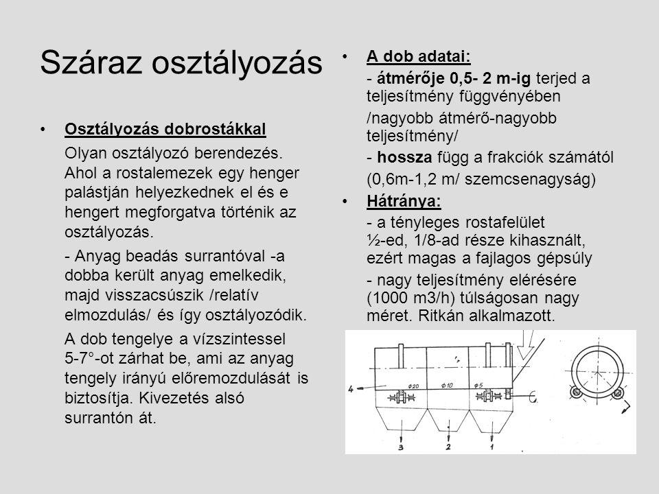 Száraz osztályozás Osztályozás vibrációs rostákkal alapvető felépítésük: - rostaszekrény - alátámasztó vagy függesztő rugó - rugócsoport - gerjesztőmű - alapkeret A vibrációs rosták jellemző mozgáspályáját az alkalmazott gerjesztőmű és a rugózás kivitele szabja meg: -kör -ellipszis -lineáris Gerjesztés szempontjából két alapvető változata van: 1.Amikor a gerjesztés közvetlenül a rostaszekrényre, mint tömegre hat 2.A másik változatnál a gerjesztés közvetlenül a rugókra hat.