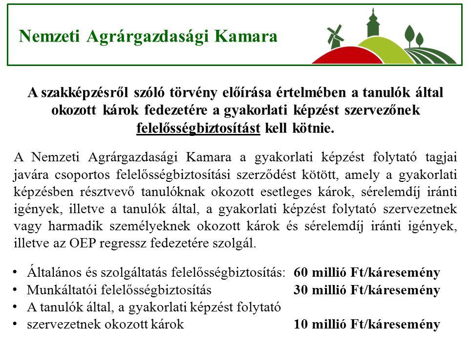 Nemzeti Agrárgazdasági Kamara A szakképzésről szóló törvény előírása értelmében a tanulók által okozott károk fedezetére a gyakorlati képzést szervező