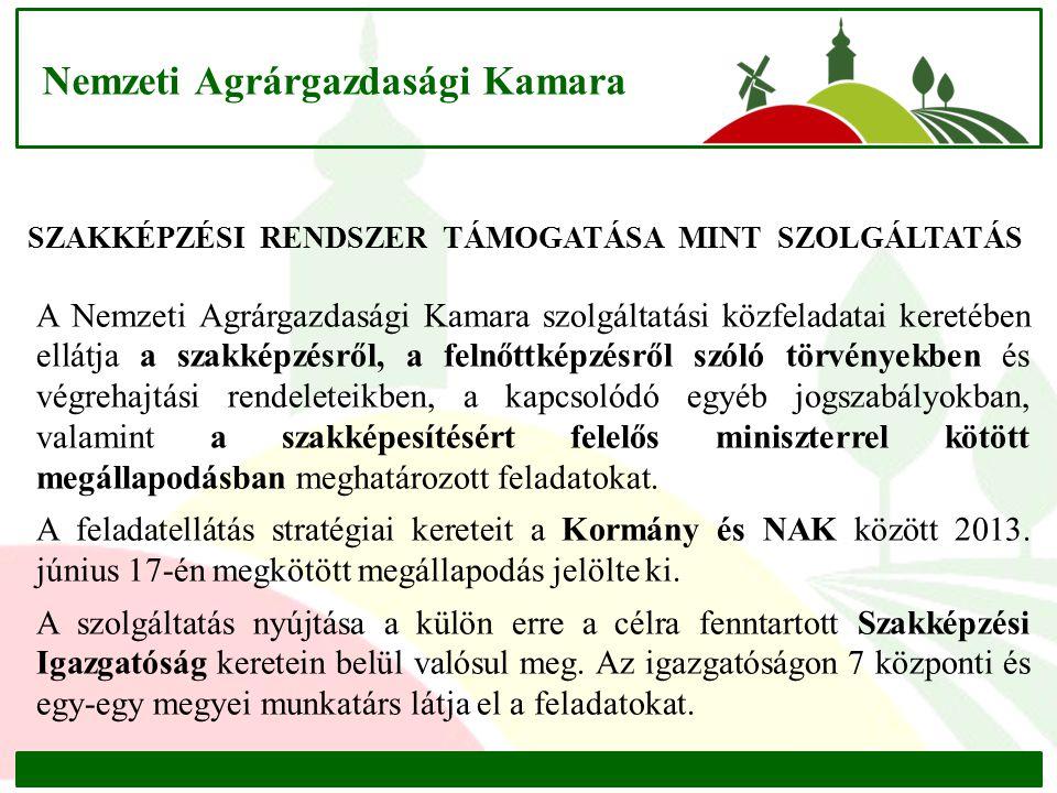 Nemzeti Agrárgazdasági Kamara A Nemzeti Agrárgazdasági Kamara szolgáltatási közfeladatai keretében ellátja a szakképzésről, a felnőttképzésről szóló t