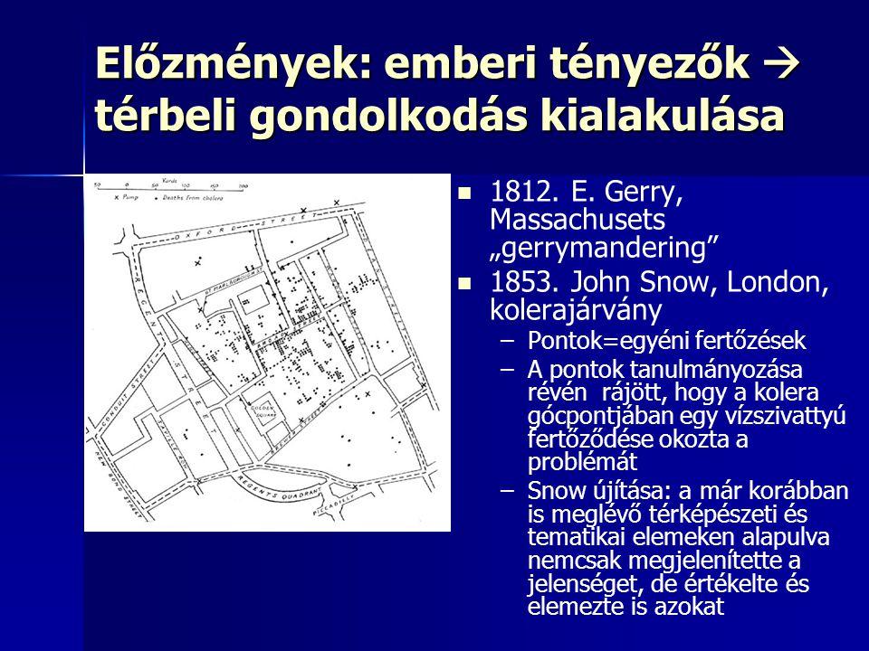 """Előzmények: emberi tényezők  térbeli gondolkodás kialakulása 1812. E. Gerry, Massachusets """"gerrymandering"""" 1853. John Snow, London, kolerajárvány – –"""