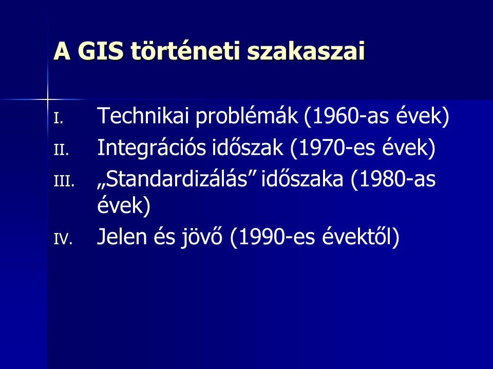 """A GIS történeti szakaszai I. I. Technikai problémák (1960-as évek) II. II. Integrációs időszak (1970-es évek) III. III. """"Standardizálás"""" időszaka (198"""