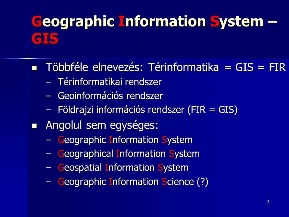 Első GIS a vidékfejlesztés keretén belül 1962: A GIS atyja: Dr.