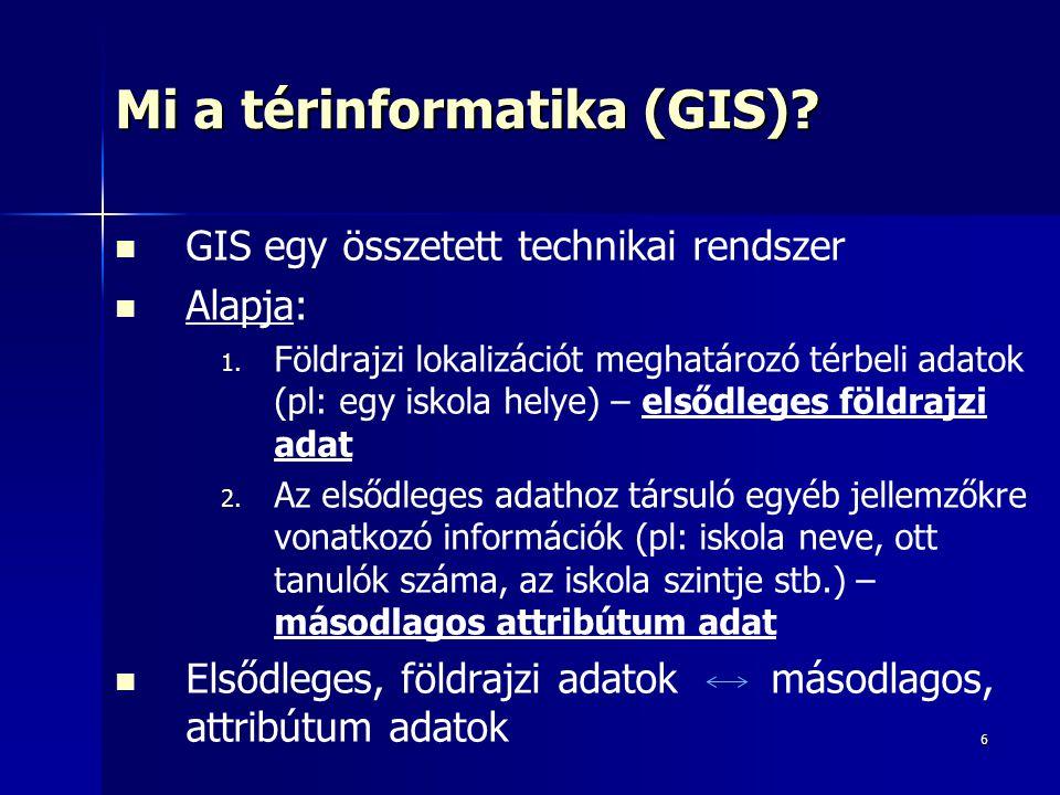 6 Mi a térinformatika (GIS)? GIS egy összetett technikai rendszer Alapja: 1. 1. Földrajzi lokalizációt meghatározó térbeli adatok (pl: egy iskola hely