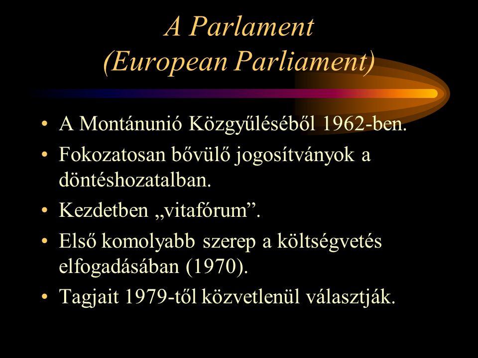 """A Parlament (European Parliament) A Montánunió Közgyűléséből 1962-ben. Fokozatosan bővülő jogosítványok a döntéshozatalban. Kezdetben """"vitafórum"""". Els"""