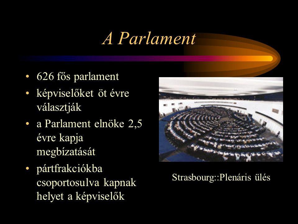 A Parlament 626 fős parlament képviselőket öt évre választják a Parlament elnöke 2,5 évre kapja megbízatását pártfrakciókba csoportosulva kapnak helye